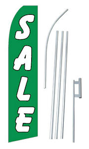 Sale Advertising Banner Flag Complete Tall Sign Kit 2 5 Wide Green