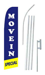Move In Special Tall Advertising Banner Flag Complete Sign Kit 2 5 Wide Blue