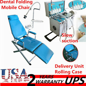 Dental Portable Folding Mobile Chair delivery Unit Rolling Case slow Suction 4 h