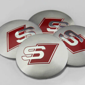 4x 56mm Car Modified Wheel Center Hub Caps Emblem Badge Decal Sticker For S Line
