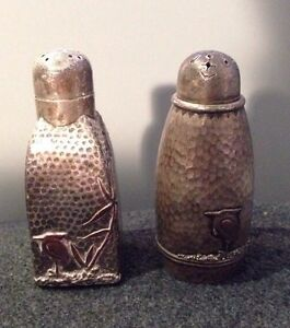 Gorham Antique Mixed Metal Sterling Silver Hammered Salt Pepper Shakers