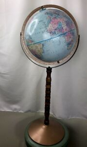 Vintage 12 Replogle World Nation Globe 33 Tall On Wooden And Metal Stand Vguc