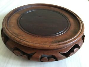 Vintage Chinese Hand Carved Rosewood Stand Base For Bowl Or Vase 6 5