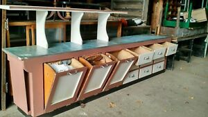 Vintage Matching Set Country Store Counter And Butcher Blocks