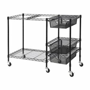 Vertiflex Mobile File Cart With 3 Drawers 38 X 15 5 X 28 Inches Black Vf50621