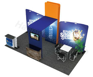 Trade Show Waveline C 02 Fabric Exhibition Booth 20 Ft Tv Suuport