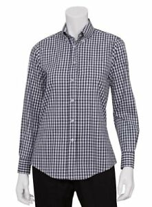 Chef Works Women s Gingham Dress Shirt Navy Whitecheck X small