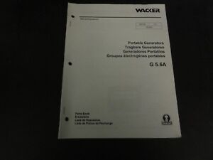 Wacker G5 6a Portable Generators Parts Book Manual
