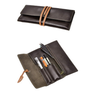 Zlyc Handmade Leather Pen Case Pencil Holder Soft Roll Wrap Bag Pouch Stationery