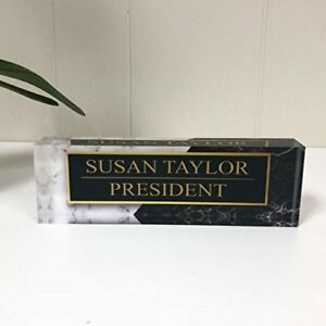 Desk Name Plate Personalized Name Title Black White Marble Printed On Clear