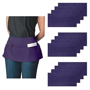 Ataly 3 pocket Canvas Waist Aprons For Women Men Bulk Set Short Waitress Half