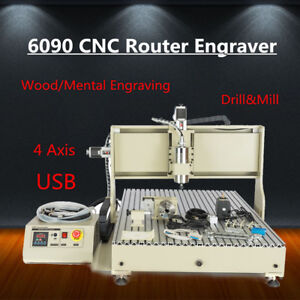 Usb 4axis 6090 Cnc Router Wood Mental Engraver Machine Drill Mill Engraving Tool