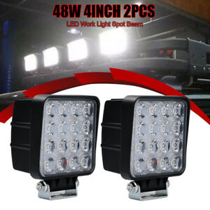 2pcs 4inch Spot Led Work Light Bar Square Cube Pods Driving Light For Snow Plow