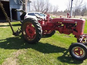 International Farmall Super C Tractor With Sickle Bar Mower And Rear Platform