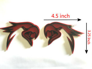 2x Red Black Hellhawk Trackhawk Grand Cherokee Racing Emblem Badges For Jeep
