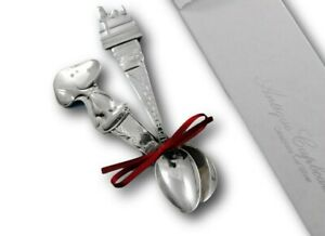 Peanuts Snoopy Child Baby Infant Feeding Spoon Set 2 Piece Silverplate Gift New