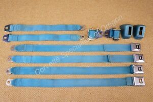 Original 66 67 Chevelle Super Sport El Camino Turquoise Carriage Seat Belts 1967