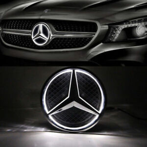 2011 2018mercedes Benz Led White Light Black Grill Star Logo Badge Emblem Front