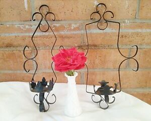 2 Vintage Sconces Black Wrought Iron Wall Hanging Decorative Candle Holders 16