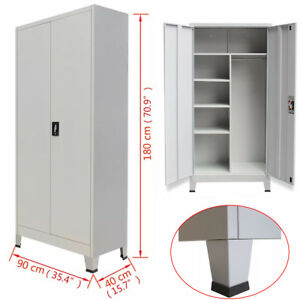 Locker Cabinet 2 Doors Home Office File Storage Cupboard Steel 35 4 x15 7 gray