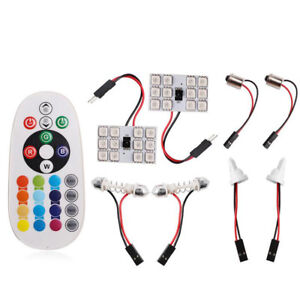 T10 5050 Auto Car Interior Rgb 12 Led Reading Light Lamp Bulb Remote Controller