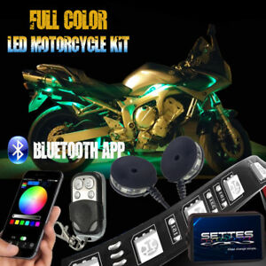12pcs Bluetooth App Led Neon Under Glow Lights Strip Kit For All Motorcycles 12v