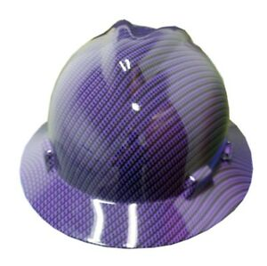 Hydrographic Purple Carbon Fiber Msa V guard Full Brim Hard Hat