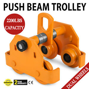 1 Ton Push Beam Track Roller Trolley Capacity 2000lbs Crane Lift Overhead Pro