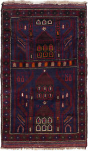 Hand Knotted Afghan Carpet 2 9 X 4 7 Vintage Tribal Traditional Wool Rug