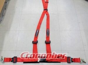 Car Truck 4 Point Safety Seat Belt Quick Release 2 Harness Strap Red Ractive