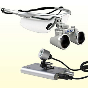 3 5x420 Dental Surgical Binocular Loupes Portable Led Dental Head Light Lamp