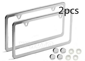2x License Plate Frames Slim 2 Hole Stainless Steel Vehicle Pair Chrome No Rust