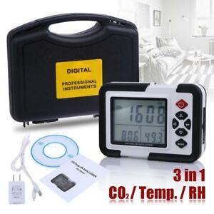 Digital Co2 rh Monitor Meter Gas 9999ppm Analyzer With Temperature Humidity Test