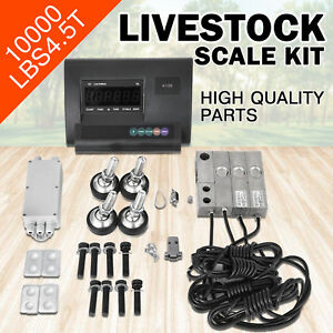 10000lbs Livestock Scale Kit For Animals Floor Scale Indicator Stainless Steel