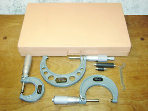 Mitutoyo 0 3 Inch Micrometer Set No 103 922 W Case 0001 Inch Carbide Faces