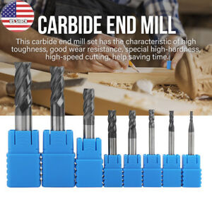 8pcs 2 12mm 4 Flutes Carbide End Mill Set Tungsten Steel Milling Cutter Tool Us