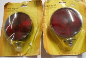 2 Vintage Nos Peterson V410r Turn Signals Lights Single Face Red Made In Usa