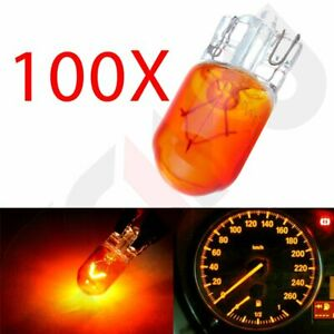 100pcs T10 194 168 Amber Halogen Bulbs Instrument Panel Light Dash Cluster Lamp