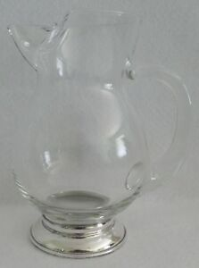 Glass Pitcher With Sterling Silver Base And Applied Handle 7 H