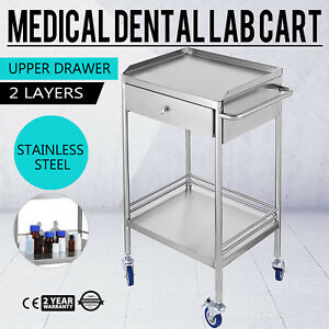 Unique Stainless Steel 2 Layers Serving Medical Dental Lab Cart Trolley New