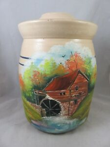Vtg Stoneware Butter Churn Crock Bolling Water Mill Hand Painted Primitive