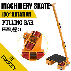 13000lbs Machinery Skate Machinery Mover Rubber Surface Pu Wheels Us Stock