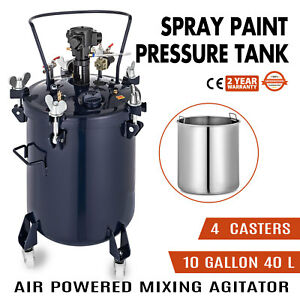 10gallon 40l Spray Paint Pressure Pot Tank 4 Casters Roll Caster 1 4 Air Inlet