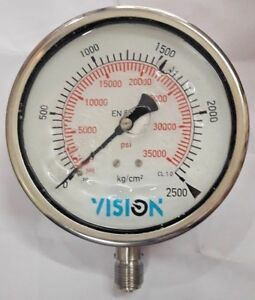 High Pressure Gauge Dual Scale 0 2500 Bar 0 35000 Psi Vision Stainless Steel