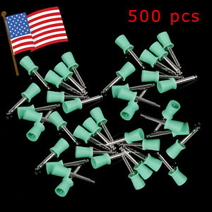500pcs Dental Rubber Prophy Angle Cup Tooth Polish Cups Brush Latch Type Green