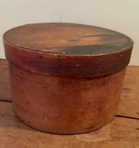 Primitive 19th Century Round Shaker Pantry Or Sewing Box