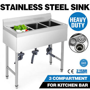 37 5 x19 3 Compartment Stainless Steel Sink Hotel Apron Wash Table Great