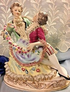 Vintage French Courting Couple Porcelain Ruffled Figurine Statue In German Style