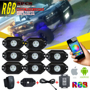 Led Work Light 8pack Pods 10w Square Rock Light W Rgb Multi color Phone Control