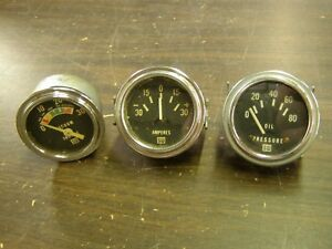 Oem Stewart Warner Lighted Gauges Oil Pressure Amp Vacuum Ford Chevrolet Dodge